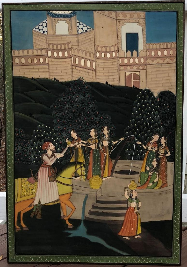 A FINE INDIAN ANTIQUE PAINTING,19C