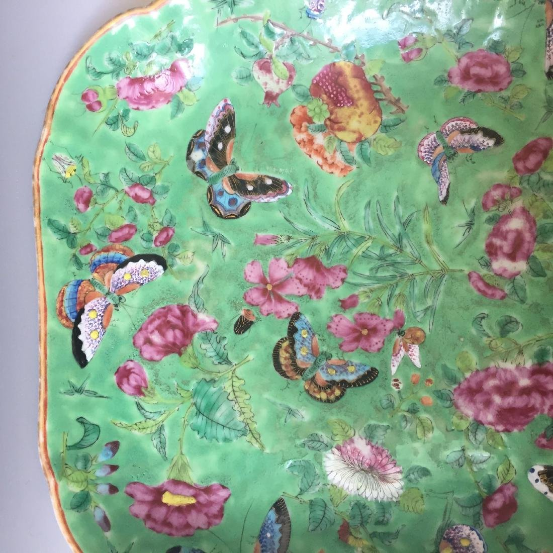 A FINE CHINESE ANTIQUE FAMILL ROSE PORCELAIN DISH,19C - 2