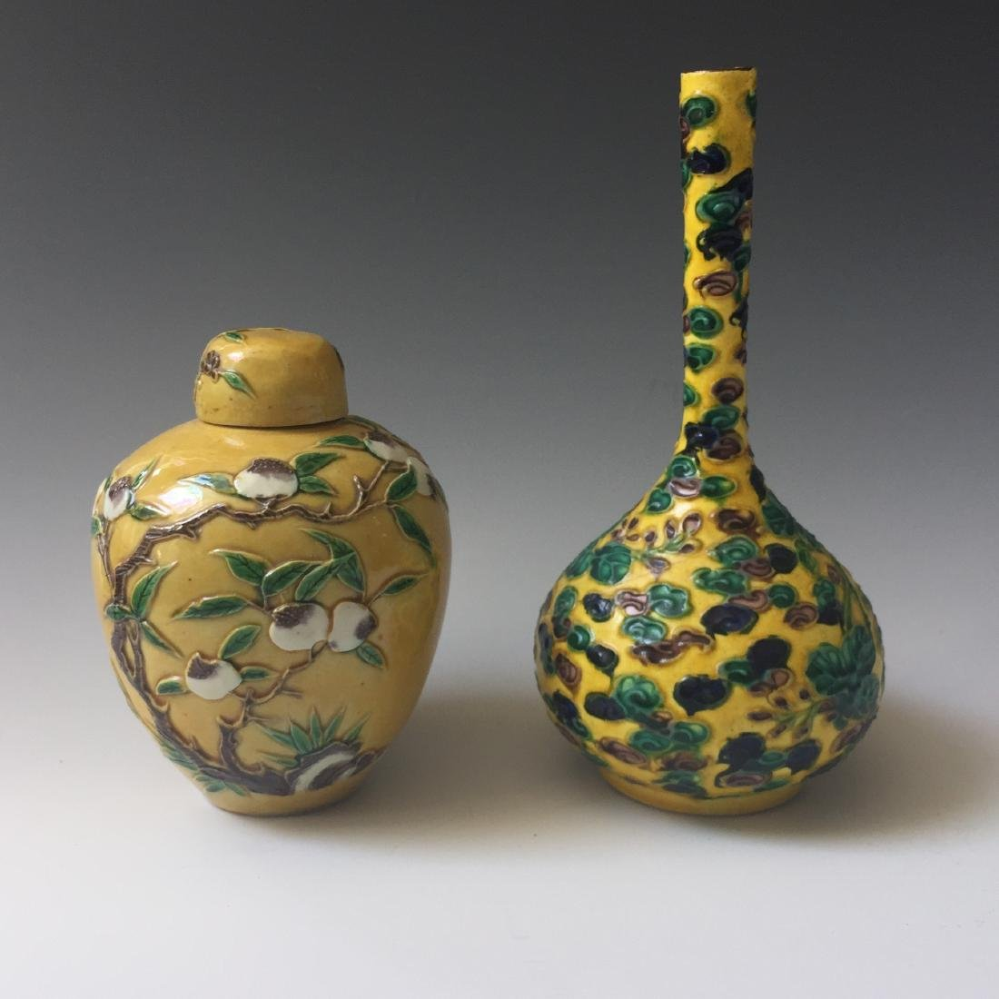 TOW OF CHINESE ANTIQUE POT AND VASE . MARKED