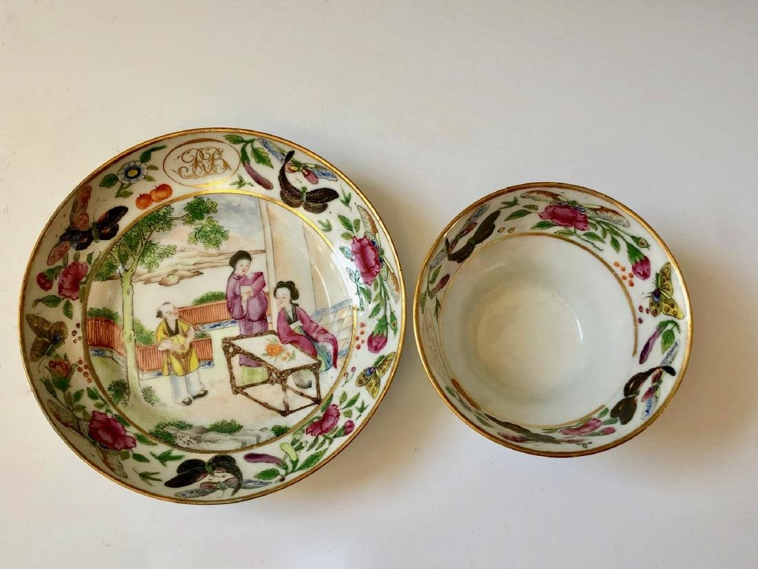 A SET OF CHINESE ANTIQUE FAMILLE ROSE PORCELAIN CUP AND - 5