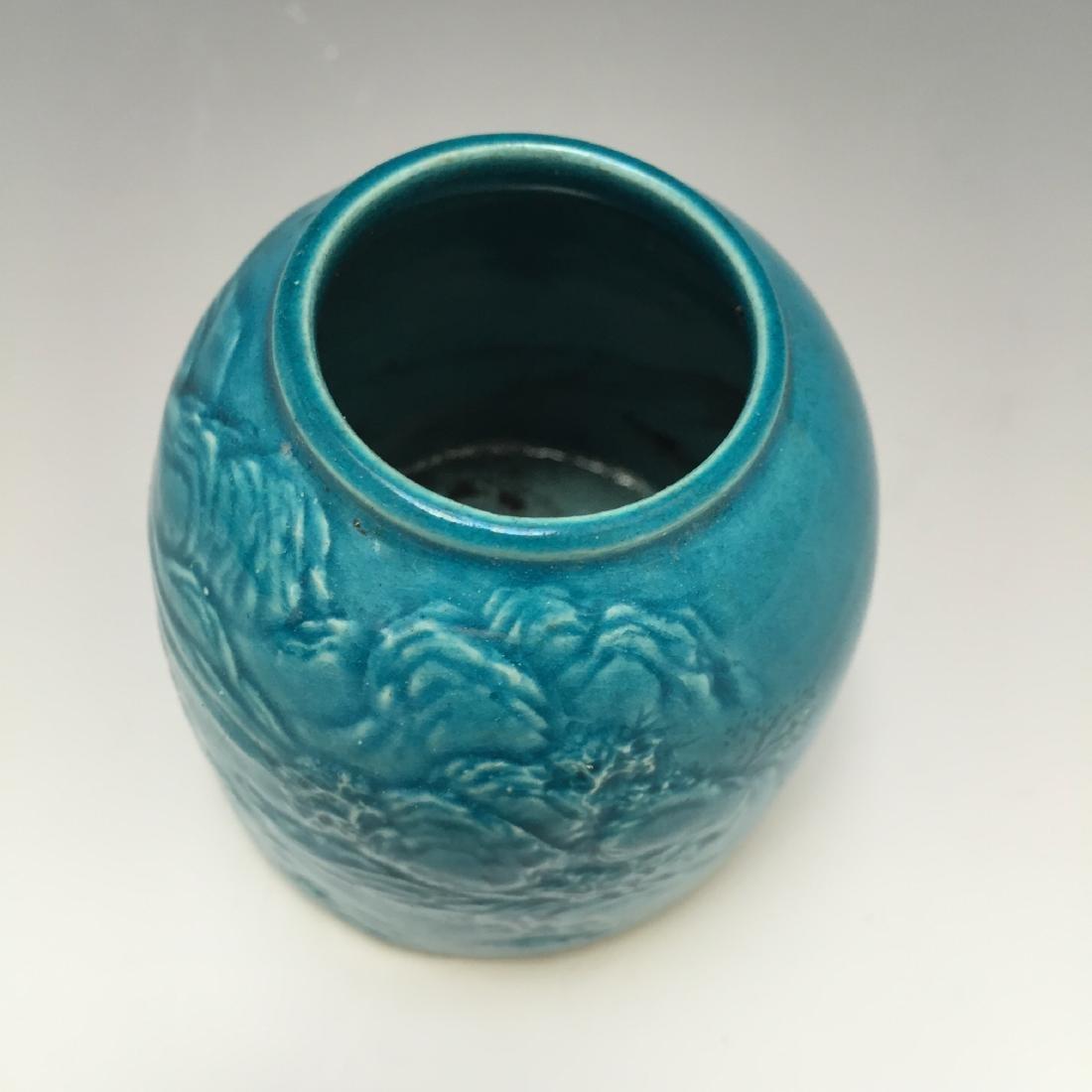 A BLUE GLAZED PORCELAIN WATER DROPPER, REPUBLIC PERIOD - 3