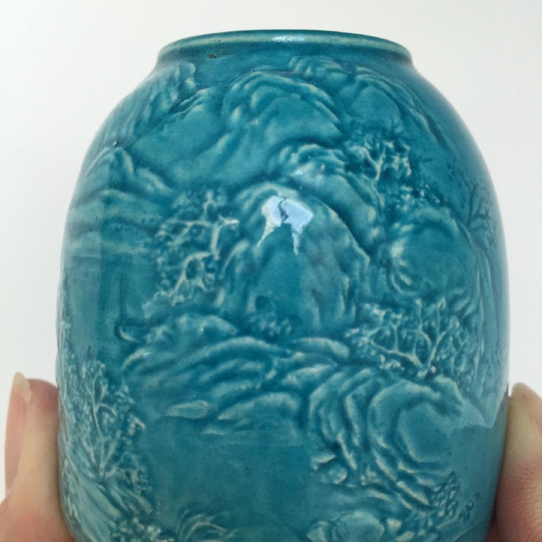 A BLUE GLAZED PORCELAIN WATER DROPPER, REPUBLIC PERIOD - 4