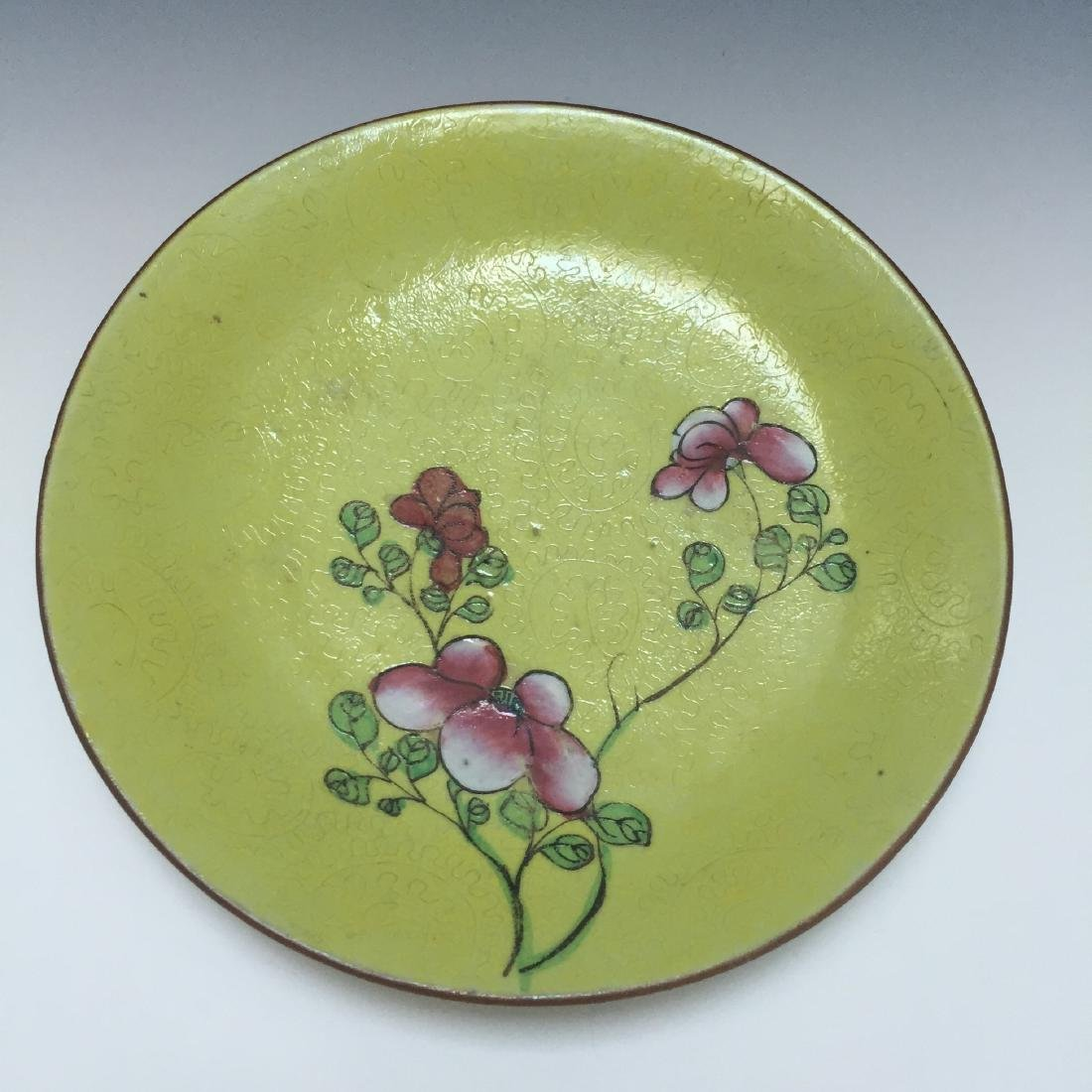 A BUEATIFUL CHINESE ANTIQUE FAMILLE ROSE DISH, 19TH CT