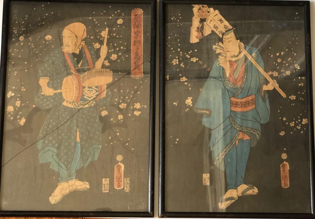 A PAIR OF JAPANESE WOODBLOCK PRINTS.