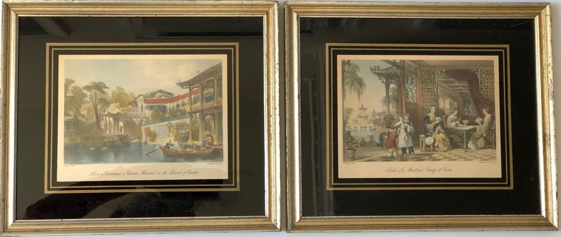 A PAIR OF CHINESE  LANDSCAPE ETCHINGS ENGRAVED BY