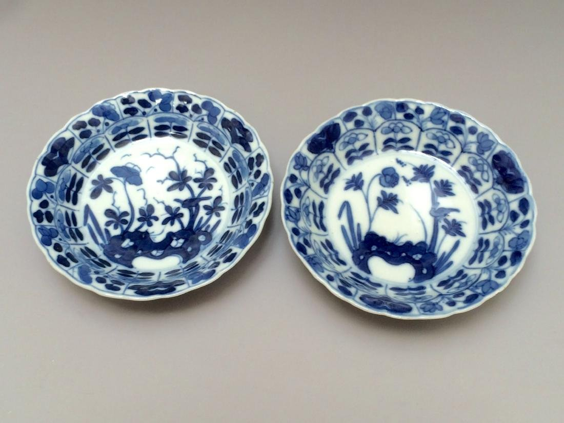 PAIR OF BLUE AND WHITE PLATES,18TH