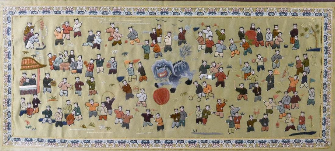 VINTAGE CHINESE SILK EMBROIDERY OF CHILDREN - 2