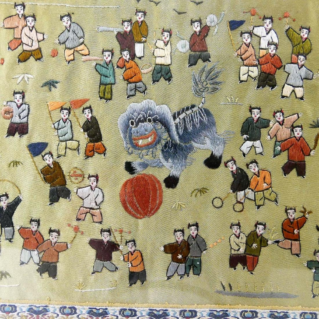 VINTAGE CHINESE SILK EMBROIDERY OF CHILDREN - 3