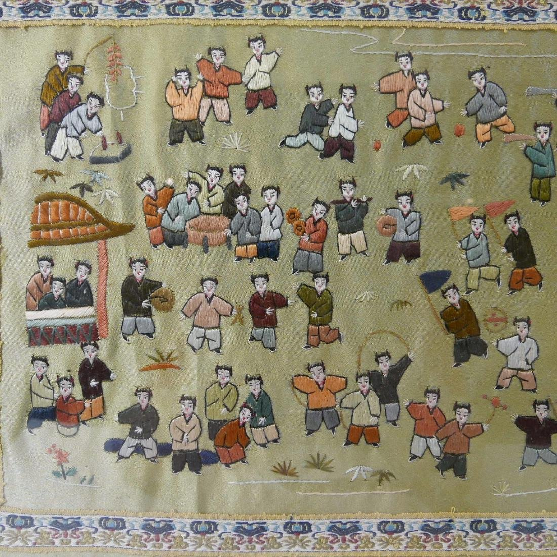 VINTAGE CHINESE SILK EMBROIDERY OF CHILDREN - 5