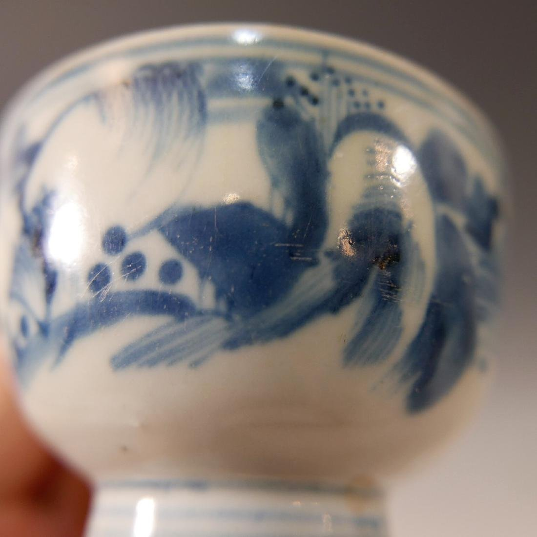 CHINESE ANTIQUE BLUE WHITE PORCELAIN CUP - MING DYNASTY - 4