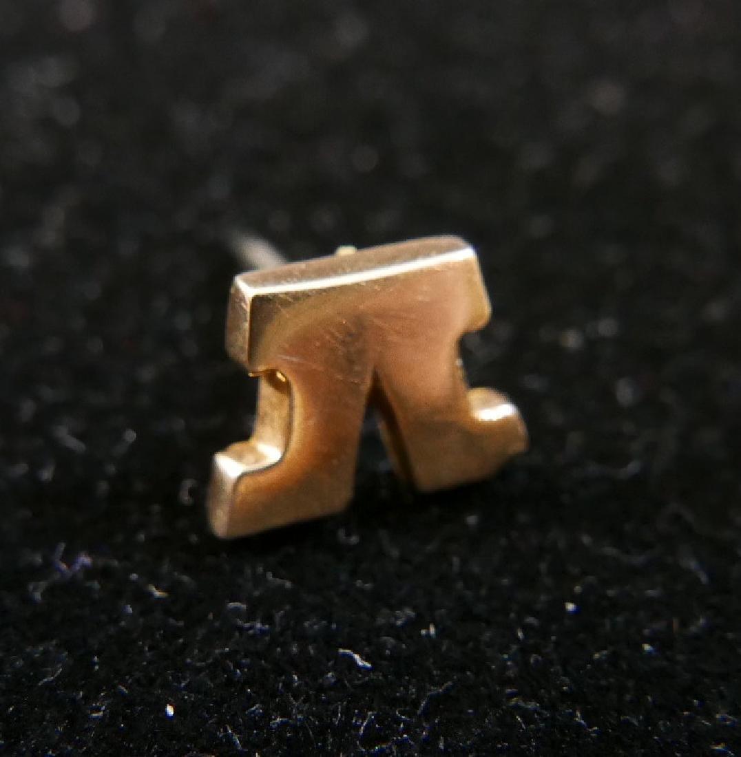 """14K GOLD FRATERNAL ORDER """"V"""" LAPEL PIN - 4"""
