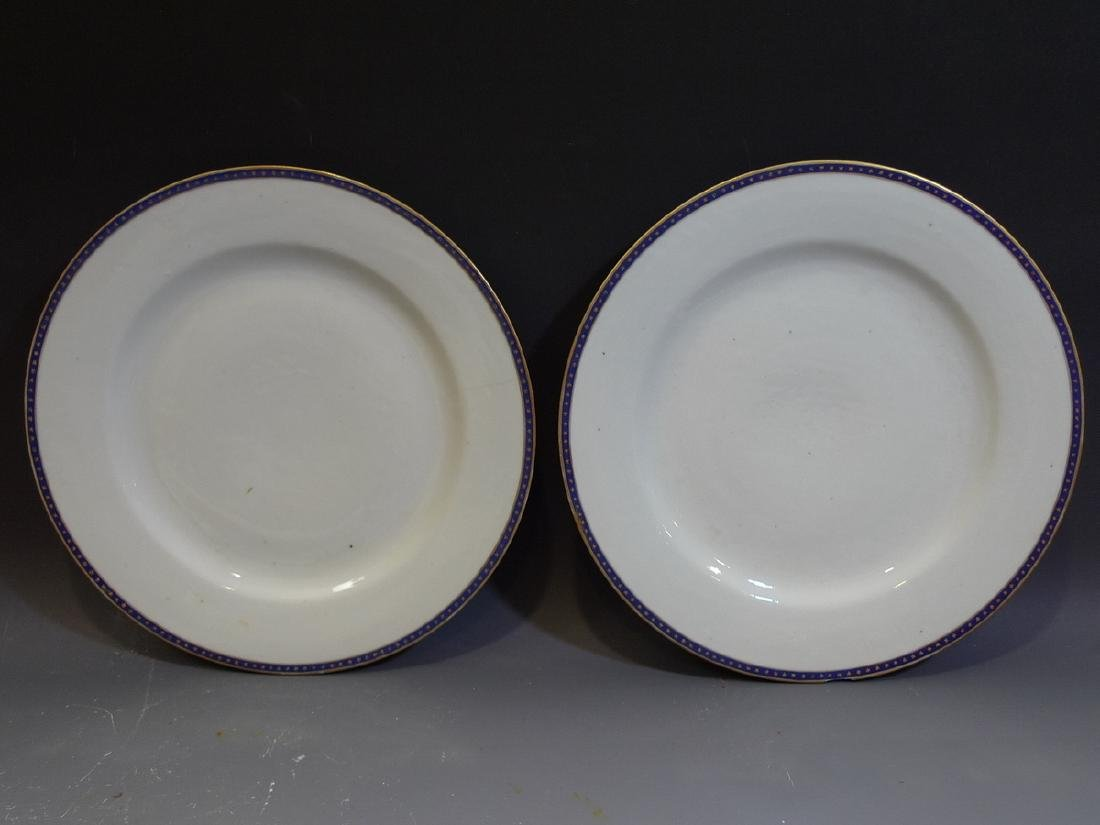 PAIR ANTIQUE CHINESE FEDERAL PATTERN PORCELAIN PLATE