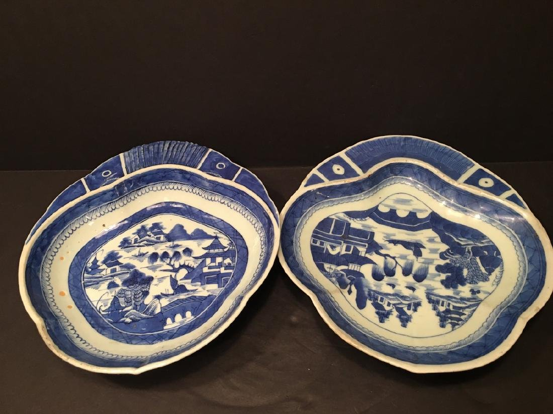 ANTIQUE Chinese Pair Blue and White Shrimp plates, 19th
