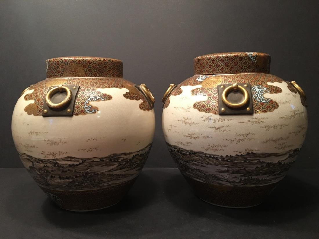 ANTIQUE Japanese LARGE Pair Covered Jars, Meiji period