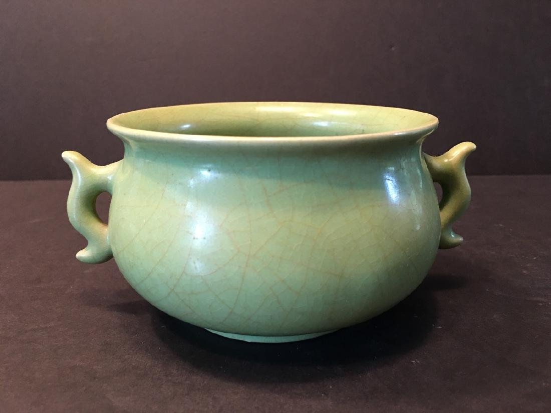 Fine Chinese Monochrome Green Censer with two ears on