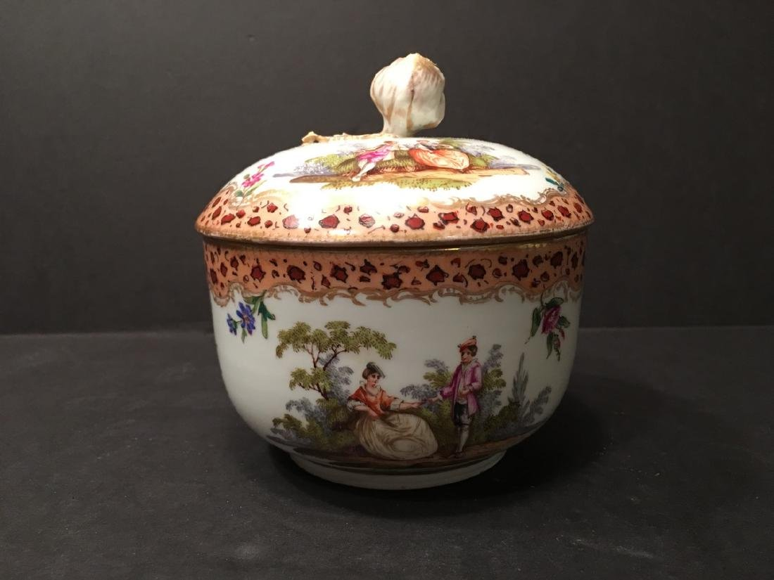 ANTIQUE MEISSEN Flower and Figurine Covered Bowl,