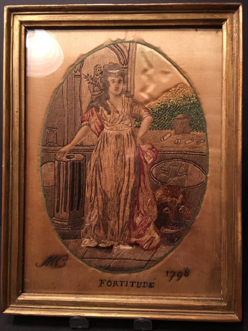 "ANTIQUE Embroidery in Frame, ""MC Fortitude, 1798"", 18th"