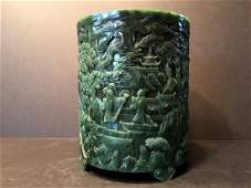 AN OLD Large Chinese Spinach Jade Brush Pot, late Qing