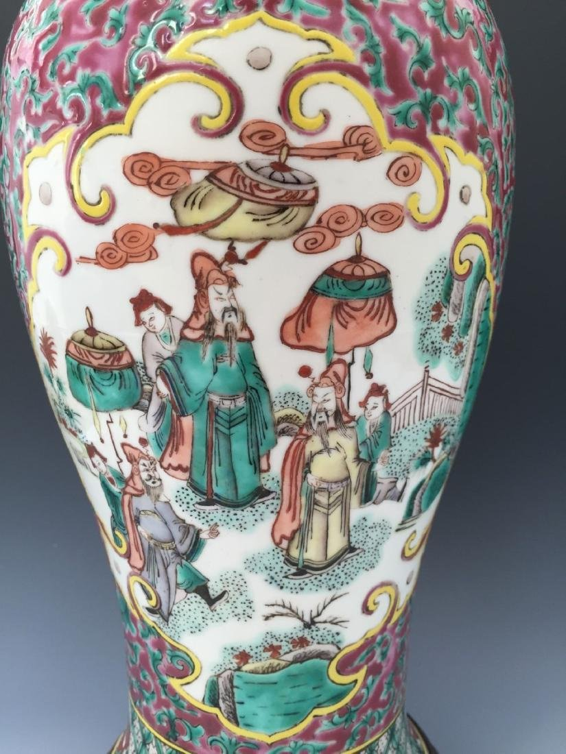 CHINESE ANTIQUE FAMILLE ROSE VASE, 18TH OR 19TH CENTURY - 2