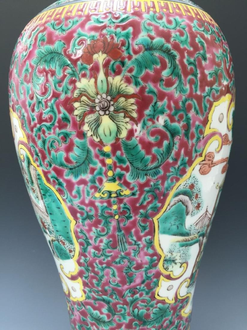CHINESE ANTIQUE FAMILLE ROSE VASE, 18TH OR 19TH CENTURY - 4