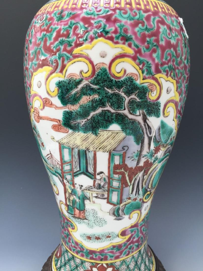CHINESE ANTIQUE FAMILLE ROSE VASE, 18TH OR 19TH CENTURY - 5