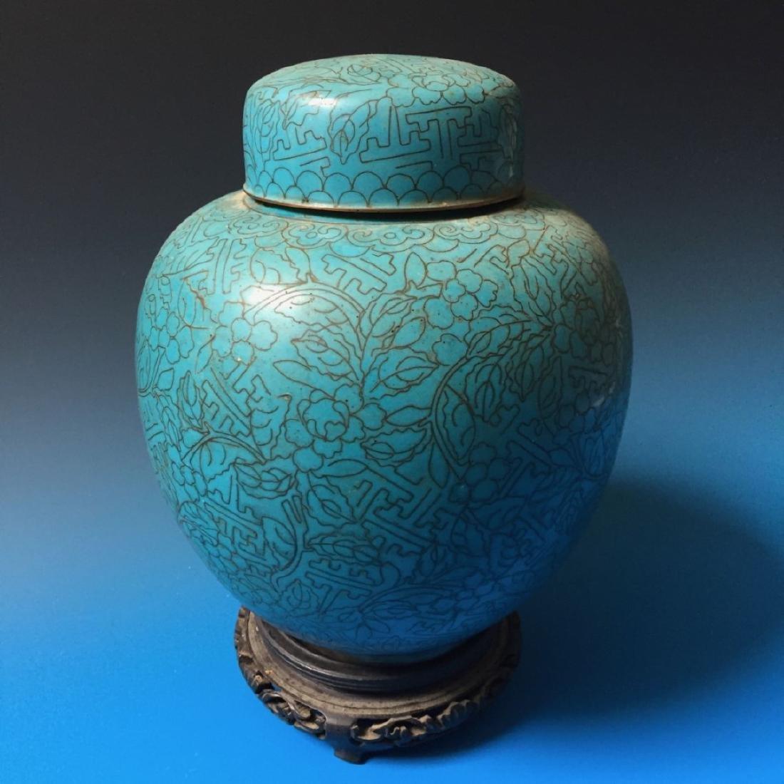CHINESE ANTIQUE CLOISONNE ENAMEL JAR