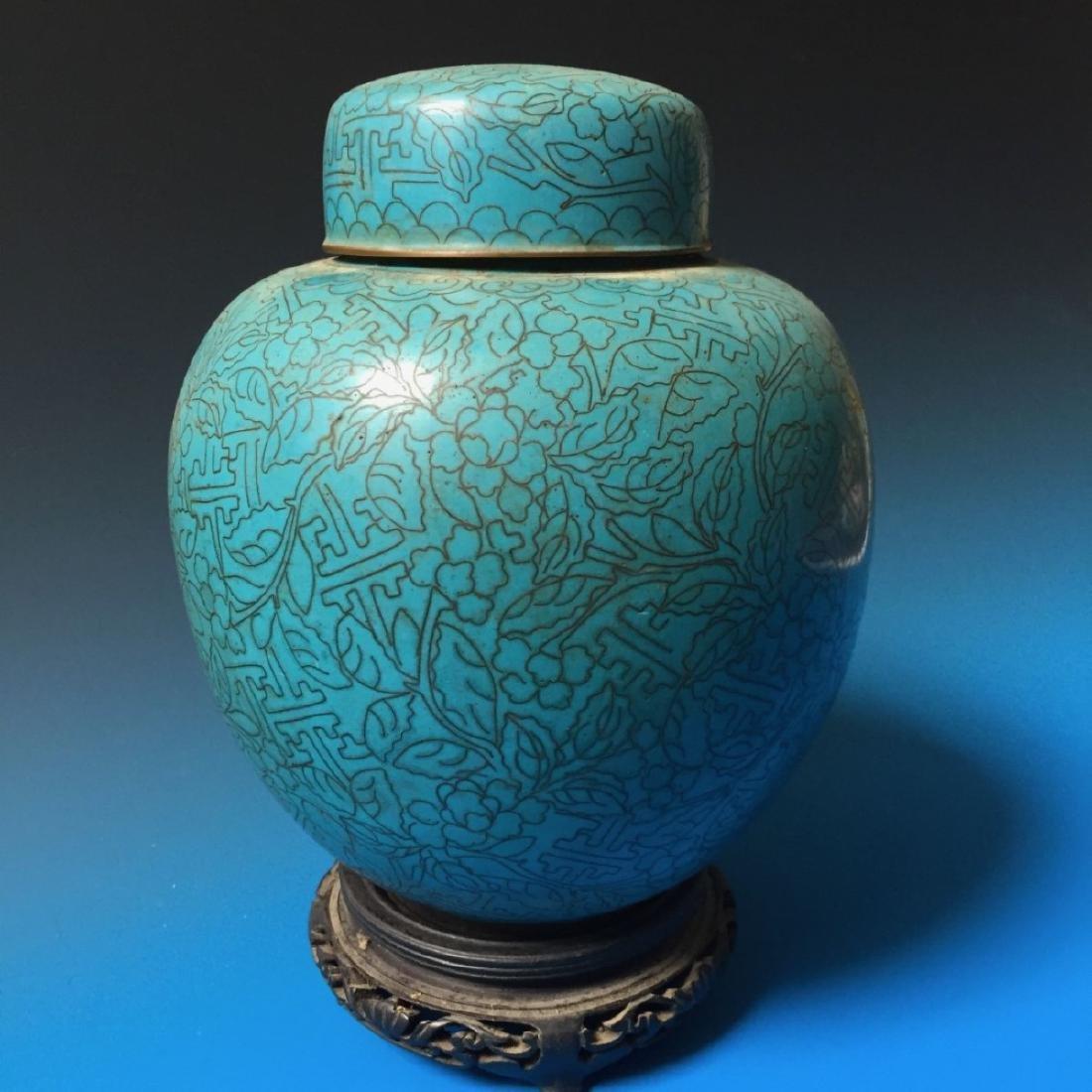 CHINESE ANTIQUE CLOISONNE ENAMEL JAR - 2
