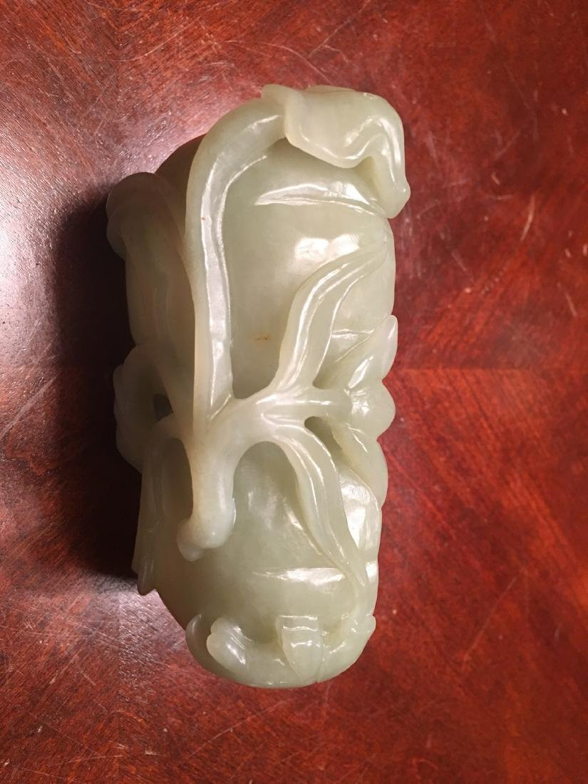 Old Large Chinese Carved Celadon White Jade Washer, - 7