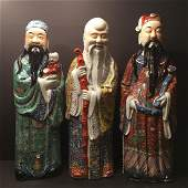 ANTIQUE Large Three Chinese Famille Rose Figurines,