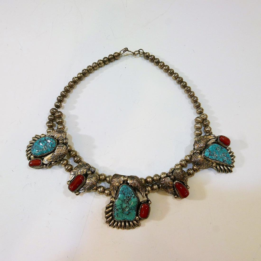 NAVAJO STERLING SILVER CORAL TURQUOISE NECKLACE