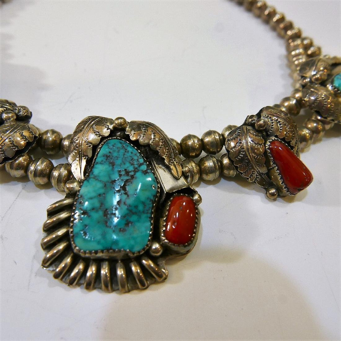 NAVAJO STERLING SILVER CORAL TURQUOISE NECKLACE - 2