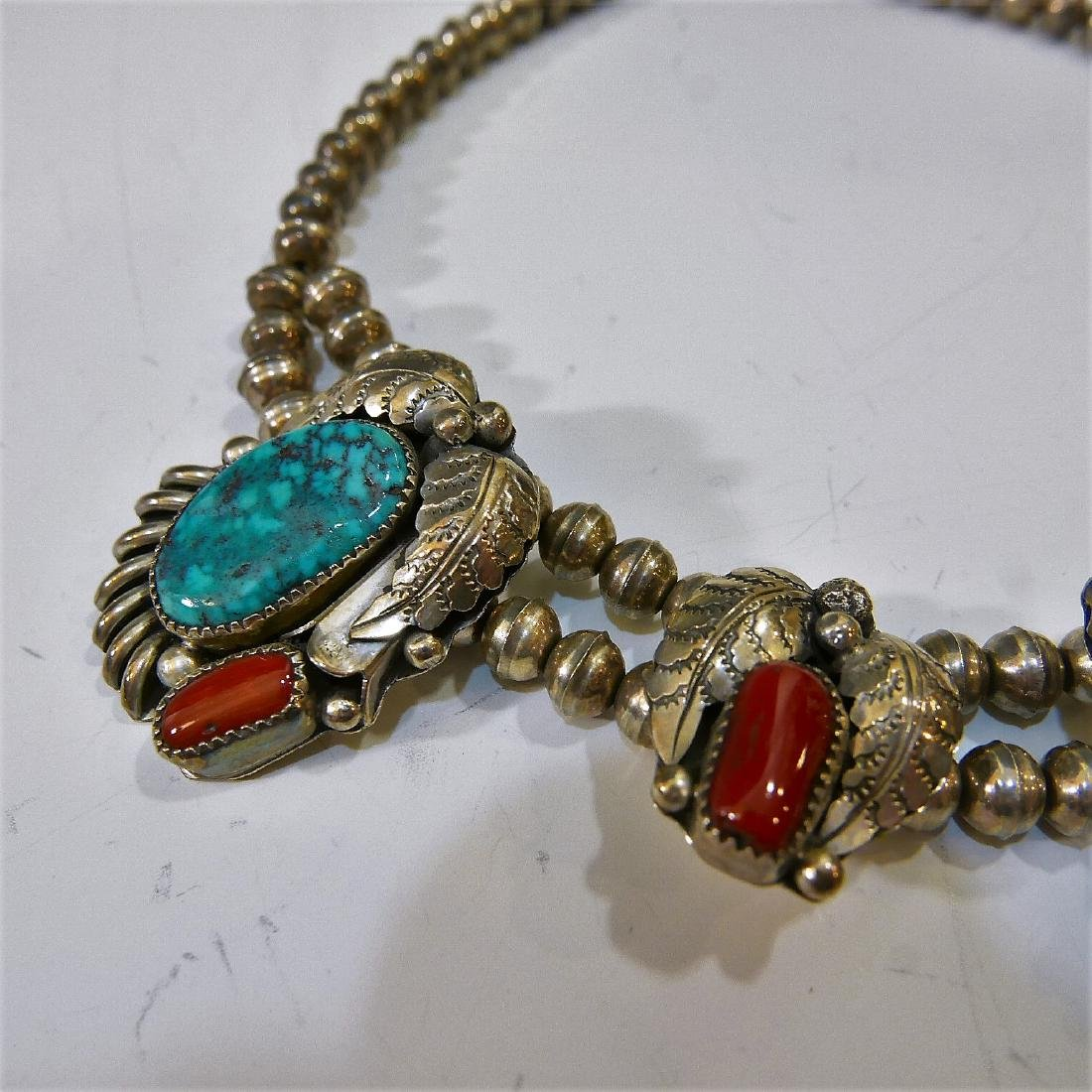 NAVAJO STERLING SILVER CORAL TURQUOISE NECKLACE - 3