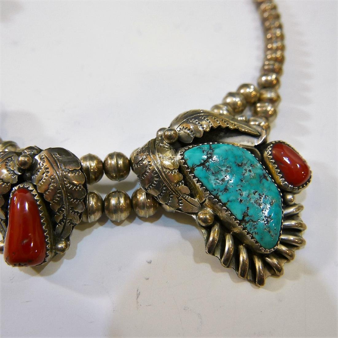 NAVAJO STERLING SILVER CORAL TURQUOISE NECKLACE - 4
