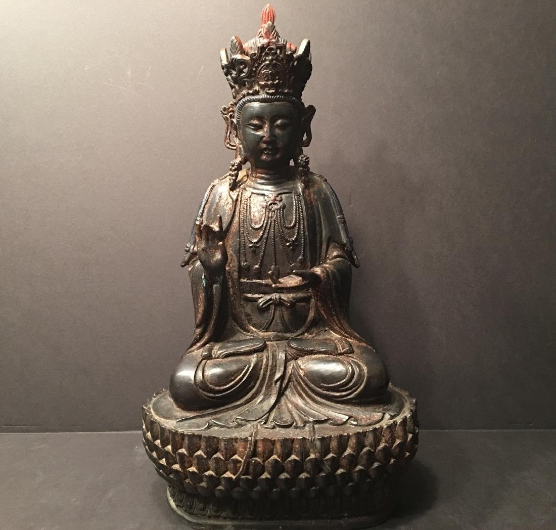 ANTIQUE Chinese Large Bronze Buddha Guanyin, early Qing