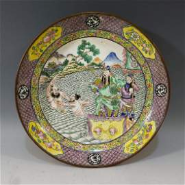 CHINESE ANTIQUE CANTON ENAMEL CHARGER -18TH CENTURY
