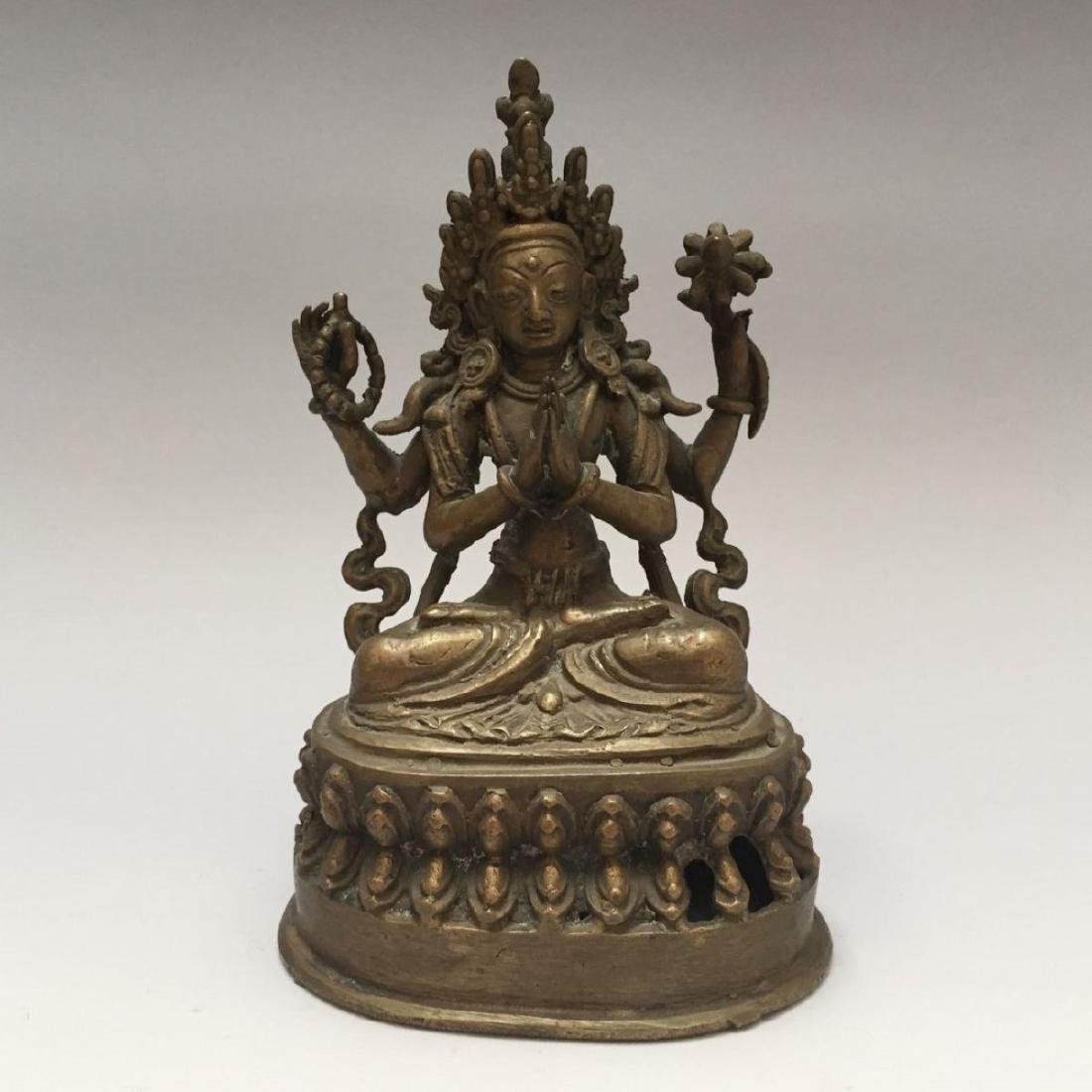 ANTIQUE TIBETAN BRONZE BUDDHA FIGURE