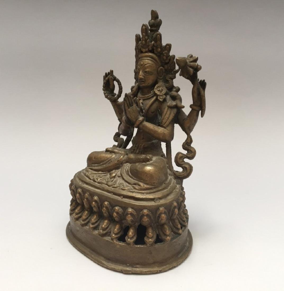 ANTIQUE TIBETAN BRONZE BUDDHA FIGURE - 3