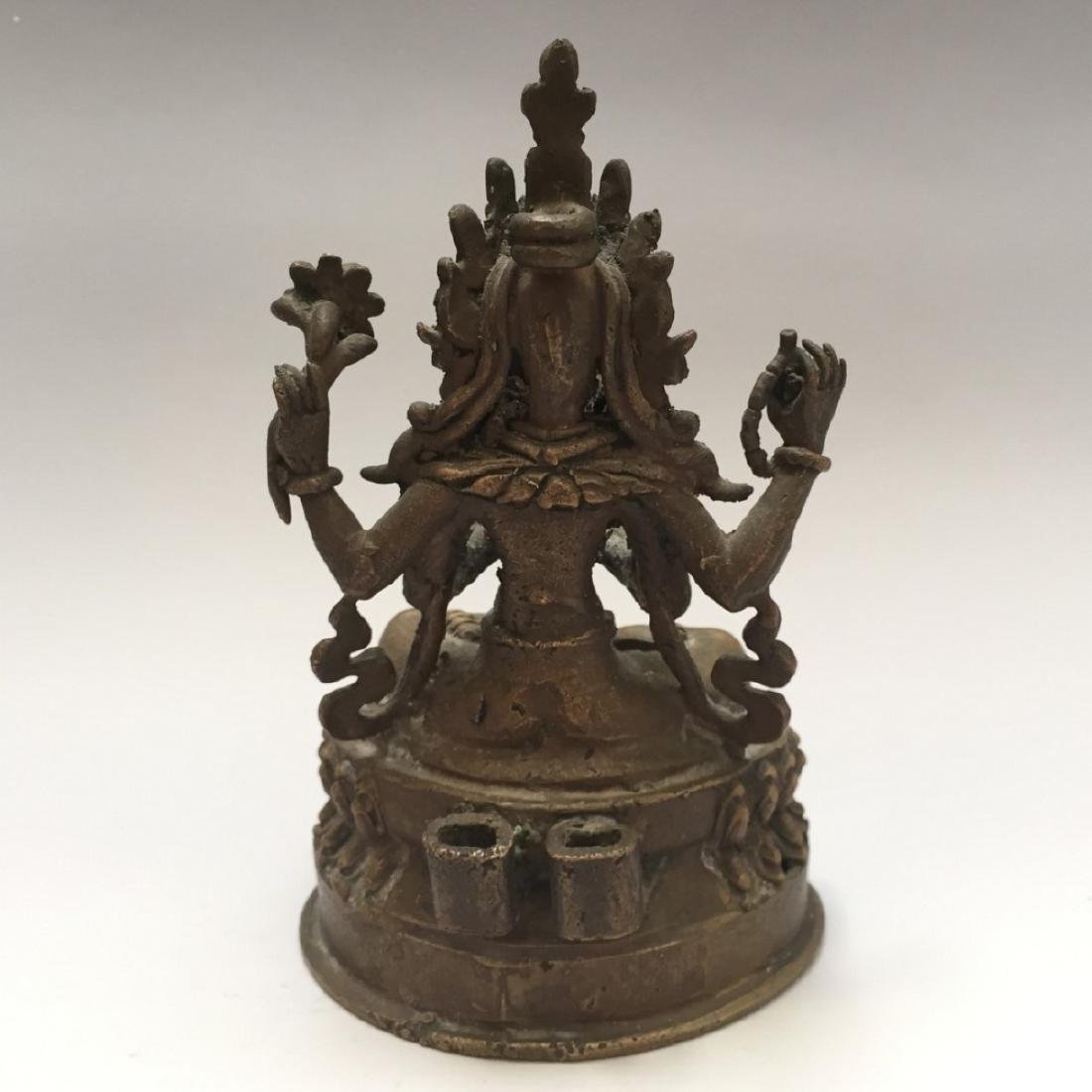 ANTIQUE TIBETAN BRONZE BUDDHA FIGURE - 4