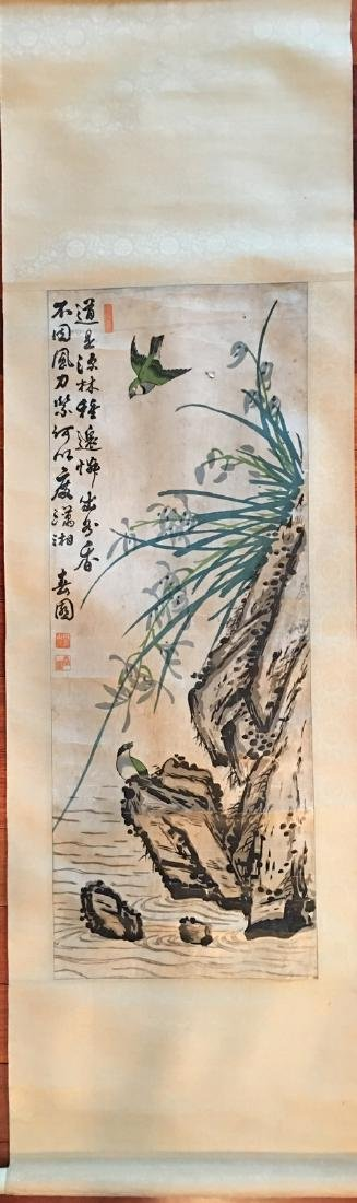 OLD Chinese Watercolor painting with birds and flowers,