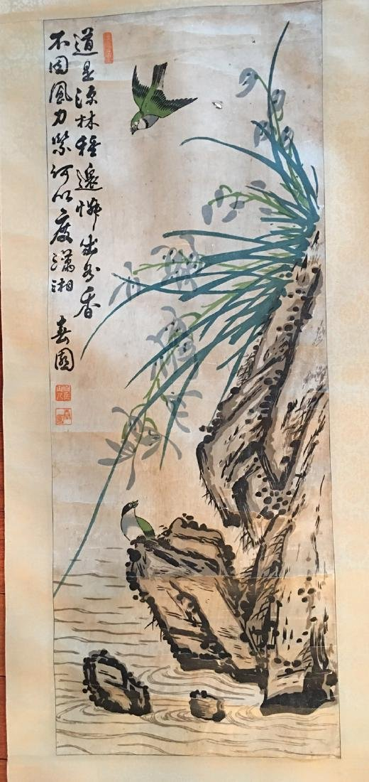OLD Chinese Watercolor painting with birds and flowers, - 2