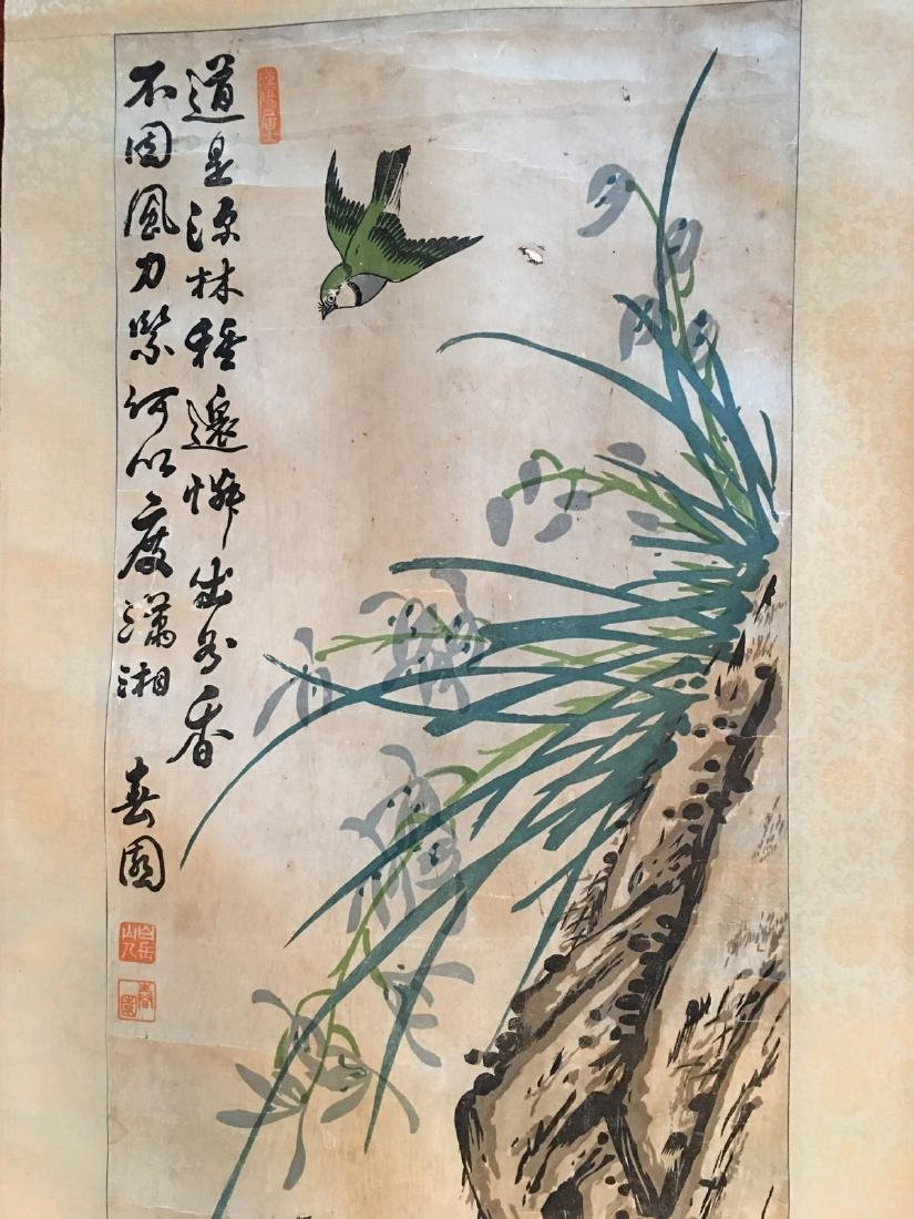 OLD Chinese Watercolor painting with birds and flowers, - 3