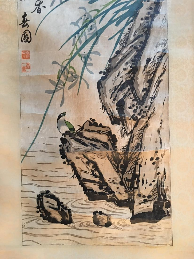 OLD Chinese Watercolor painting with birds and flowers, - 4