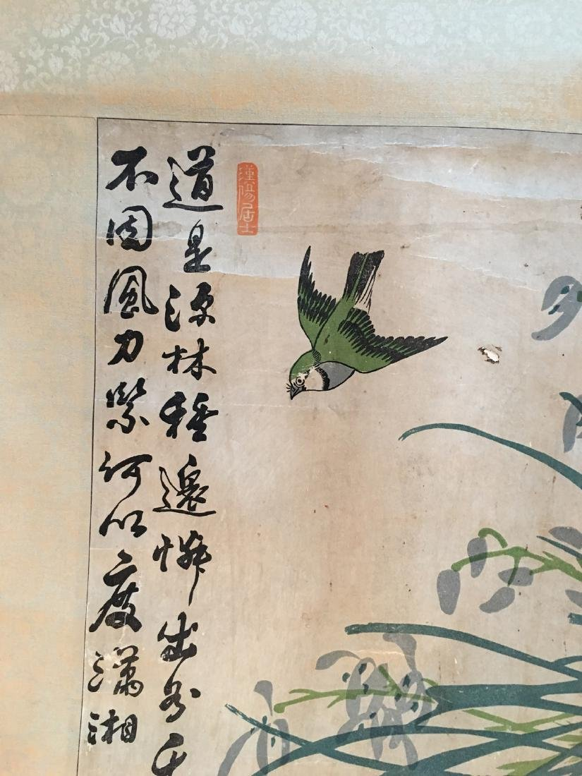 OLD Chinese Watercolor painting with birds and flowers, - 6