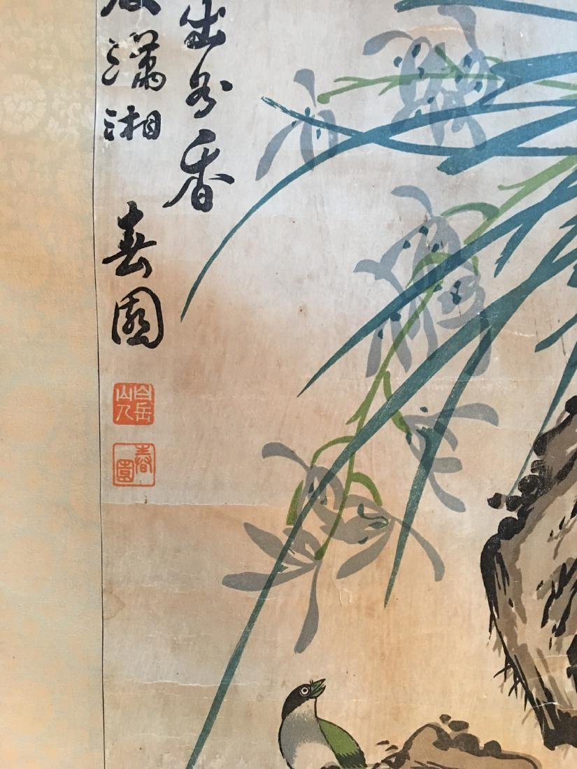 OLD Chinese Watercolor painting with birds and flowers, - 7