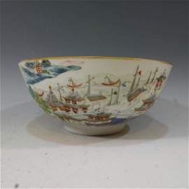 CHINESE ANTIQUE FAMILLE ROSE SCENERY BOWL - DAOGUANG