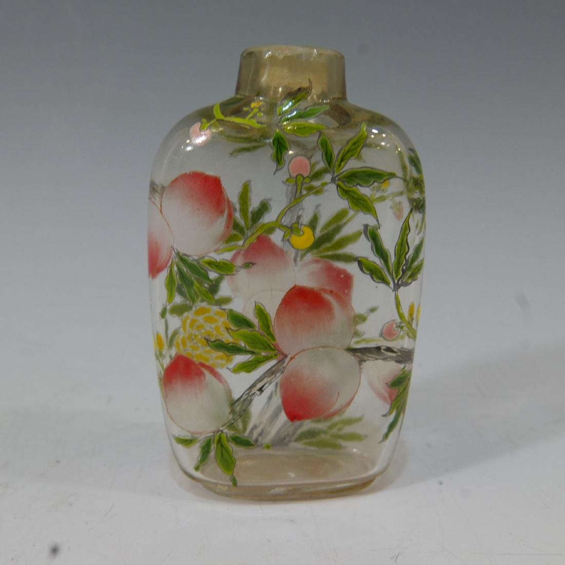 ANTIQUE ROCK CRYSTAL ENAMELED SNUFF BOTTLE - 2