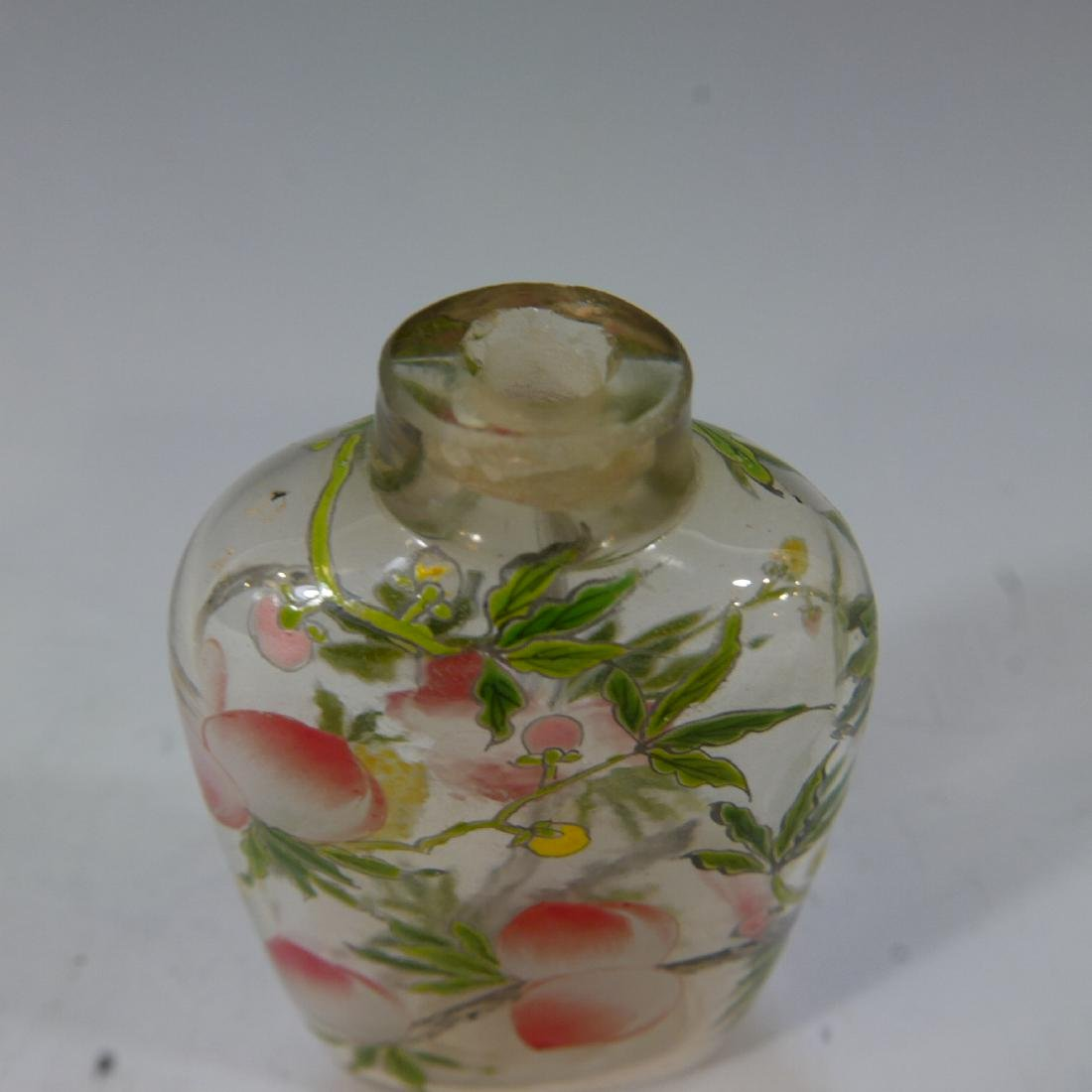 ANTIQUE ROCK CRYSTAL ENAMELED SNUFF BOTTLE - 3