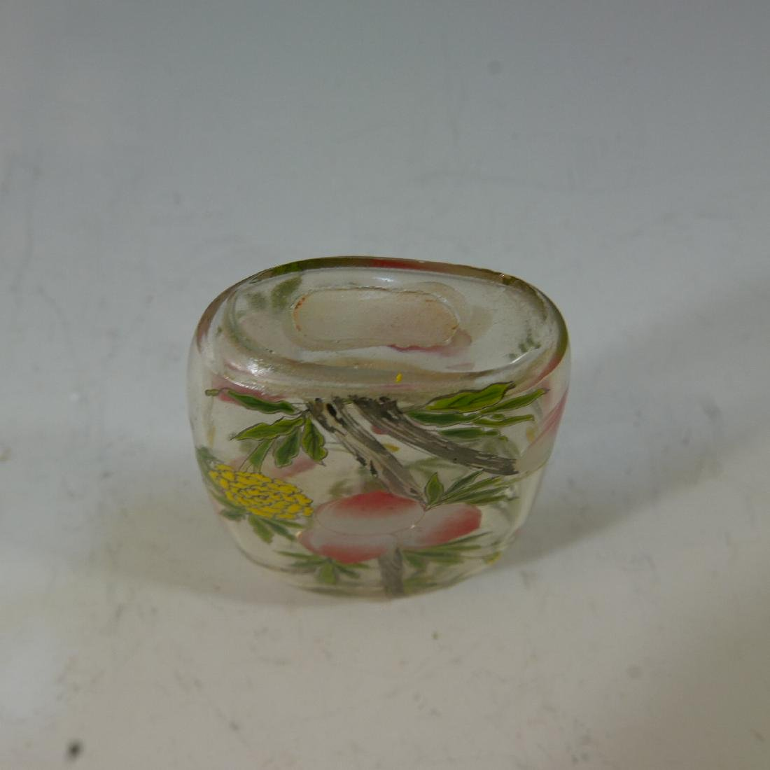 ANTIQUE ROCK CRYSTAL ENAMELED SNUFF BOTTLE - 4