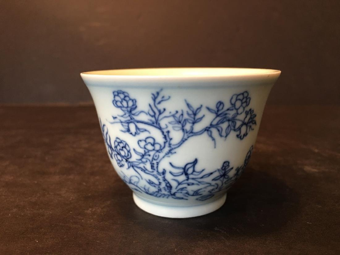 ANTIQUE Chinese Blue and White Cup, Kangxi mark