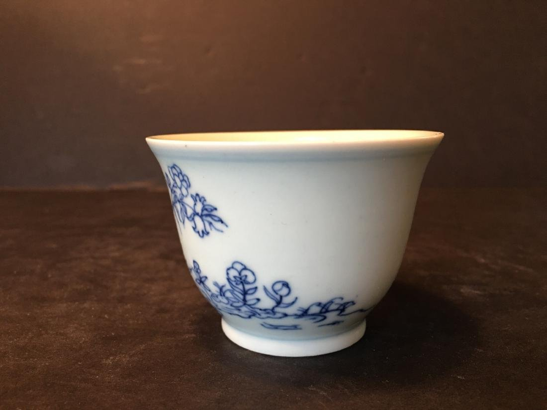 ANTIQUE Chinese Blue and White Cup, Kangxi mark - 2